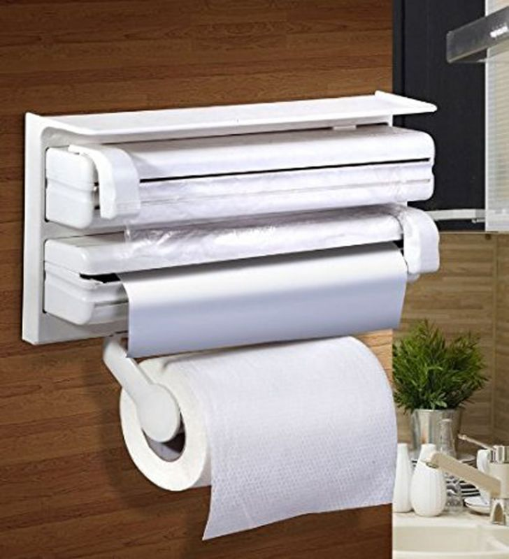 Buy 3 In 1 Kitchen Shelf Plastic Triple Paper Dispenser Preservative Film Rack Tissue Paper Tin Foil Storage Organizer online