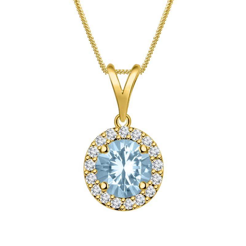 Buy Silver Dew 925 Pure Silver Aquamarine Halo Pendant With 18' Free Chain Sdp013 online