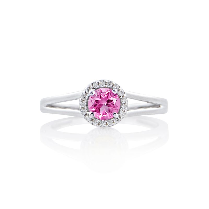 Buy Silver Dew Pink Sapphire Halo Ring For Ladies Stylish In 925 Pure Silver Sdr050 online
