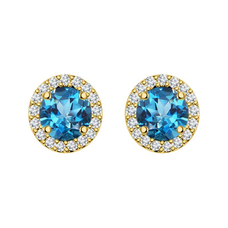 Buy Silver Dew 925 Pure Silver Blue Topaz Halo Round Fashion Screw Back Earring For Ladies & Girls Sde041bt online