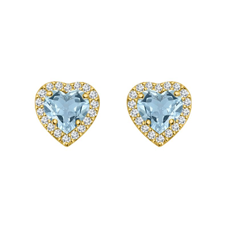 Buy Silver Dew 925 Pure Silver Aquamarine Halo Heart Stud Earring For Ladies & Girls In Rhodium Plated Sde061 online