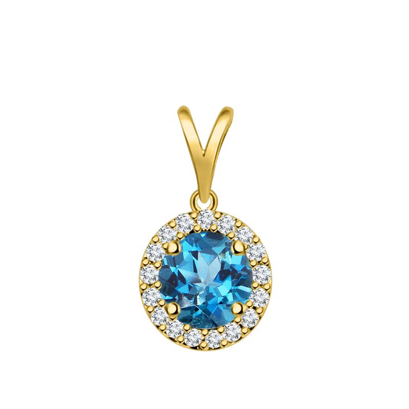 Buy Silver Dew Blue Topaz Halo Round Pendant For Women In 925 Pure Silver Sdp013 online