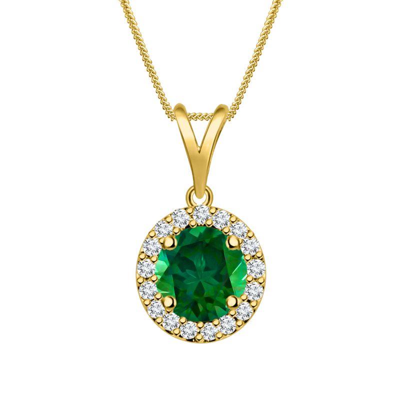 Buy Silver Dew 925 Pure Silver Emerald Halo Round Pendant Sdp013 online