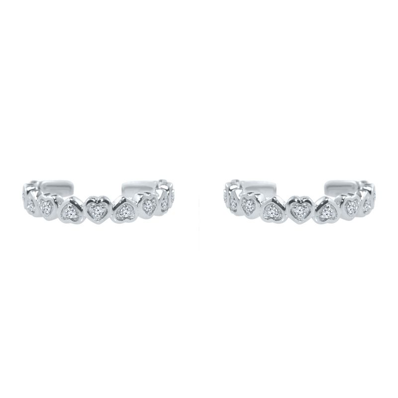 Buy Silver Dew 925 Pure Silver Heart Toe Ring In Pack Of Two Sdto003 online