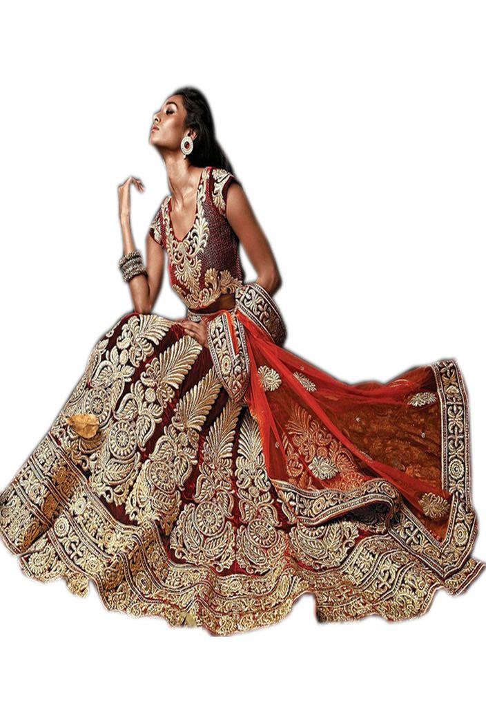 Buy Palash Fashion's Royal Looking Maroon Color Velvet Designer Wedding Lehengas (product Code - Pls-stz-7235) online