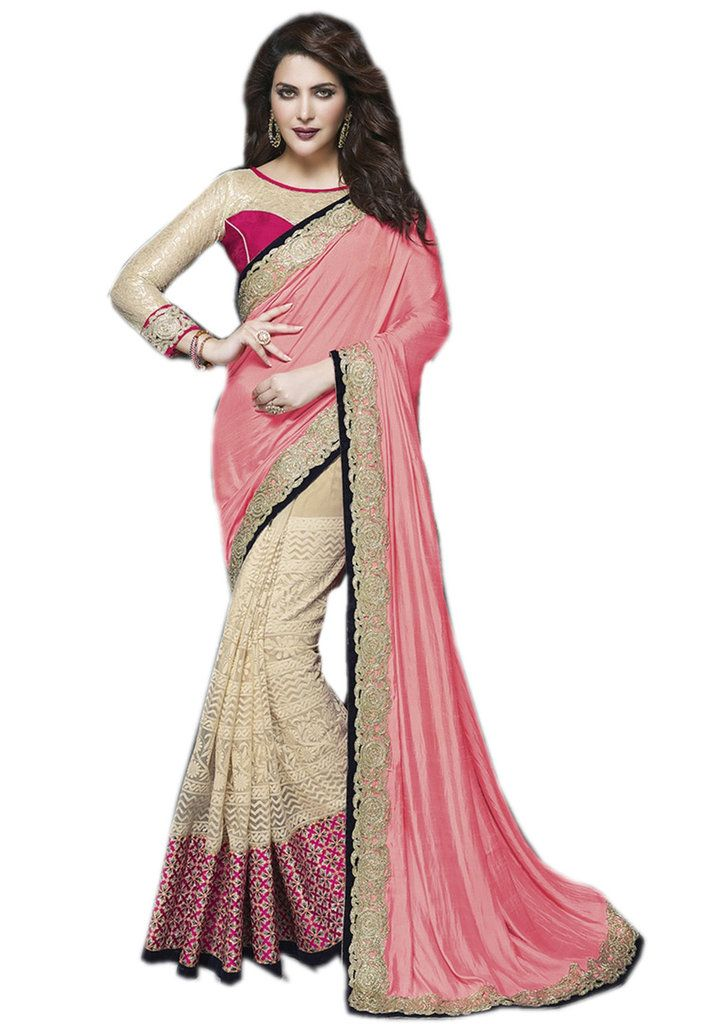 Buy Palash Fashions Royal Looking Peach And Cream Color Satin Chiffon And Net Fancy Designer Saree (product Code - Pls-ts-9651) online