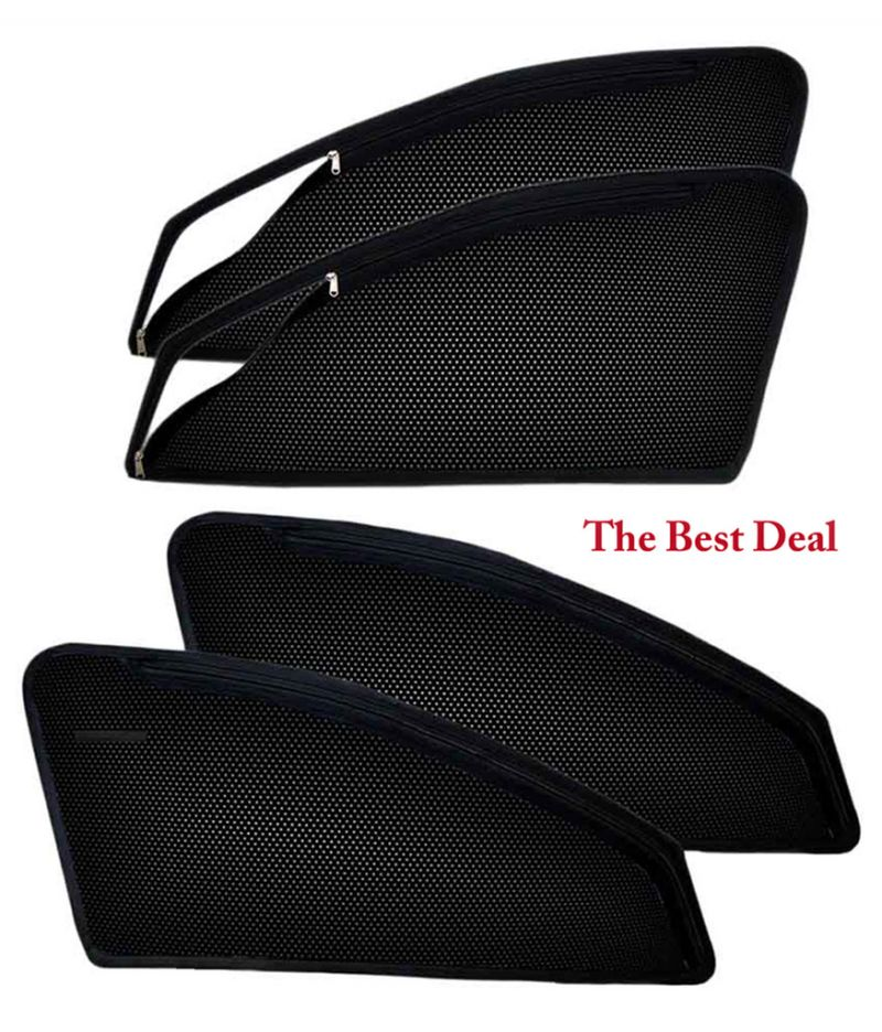 Buy The Best Deal In Zipper & Magnetic Car Sun Shades/ Curtain For Renault Kwid -set Of 4 online