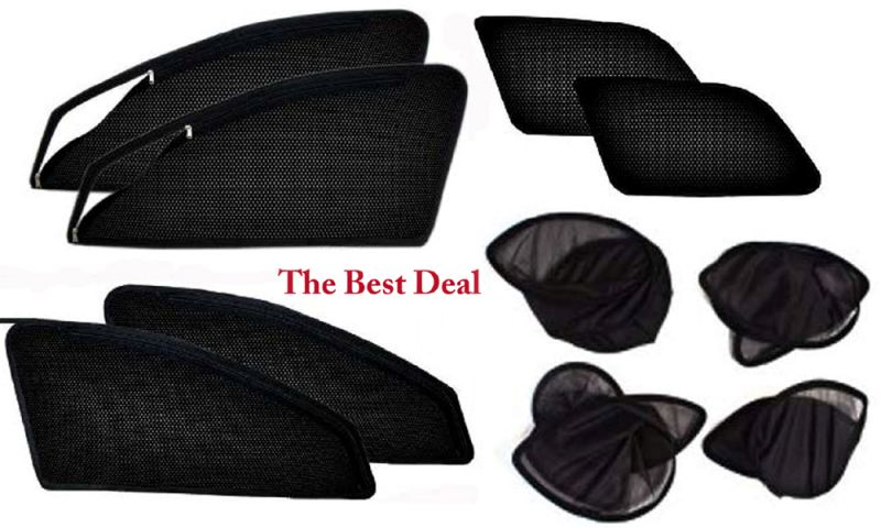 Buy The Best Deal Zipper & Magnetic Foldable Car Sun Shades/ Curtain For Maruti Eeco -set Of 6 online