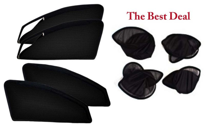 Buy The Best Deal Zipper & Magnetic Foldable Car Sun Shades/ Curtain For Maruti Zen Old -set Of 4 online