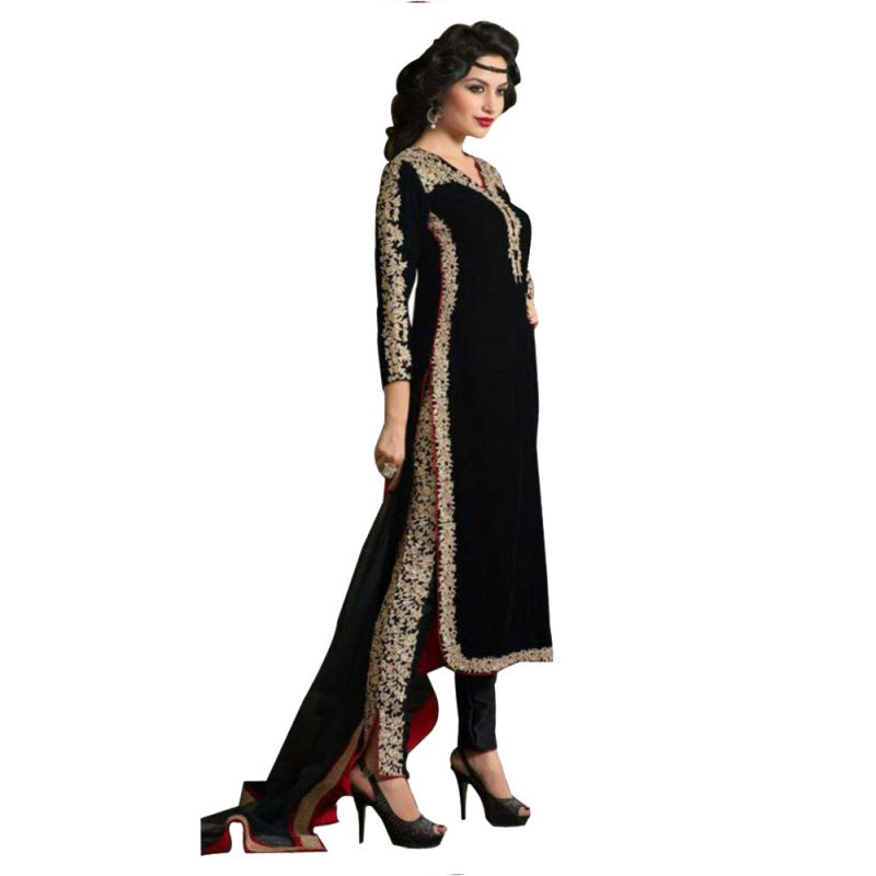 Buy Bollywood Replica Women Ethnic Wear Designer Black Velvet Salwar Suit 103f4f061dm online