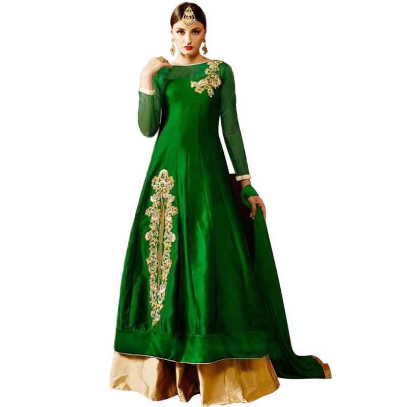 Buy Bollywood Replica Designer Green Tapeta & Net With Siqwans   Tar Embroidered & Stone Work Lehengas online