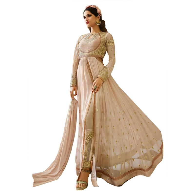 Buy Bollywood Replica Designer Long Peach Georgette Anarkali Suit online
