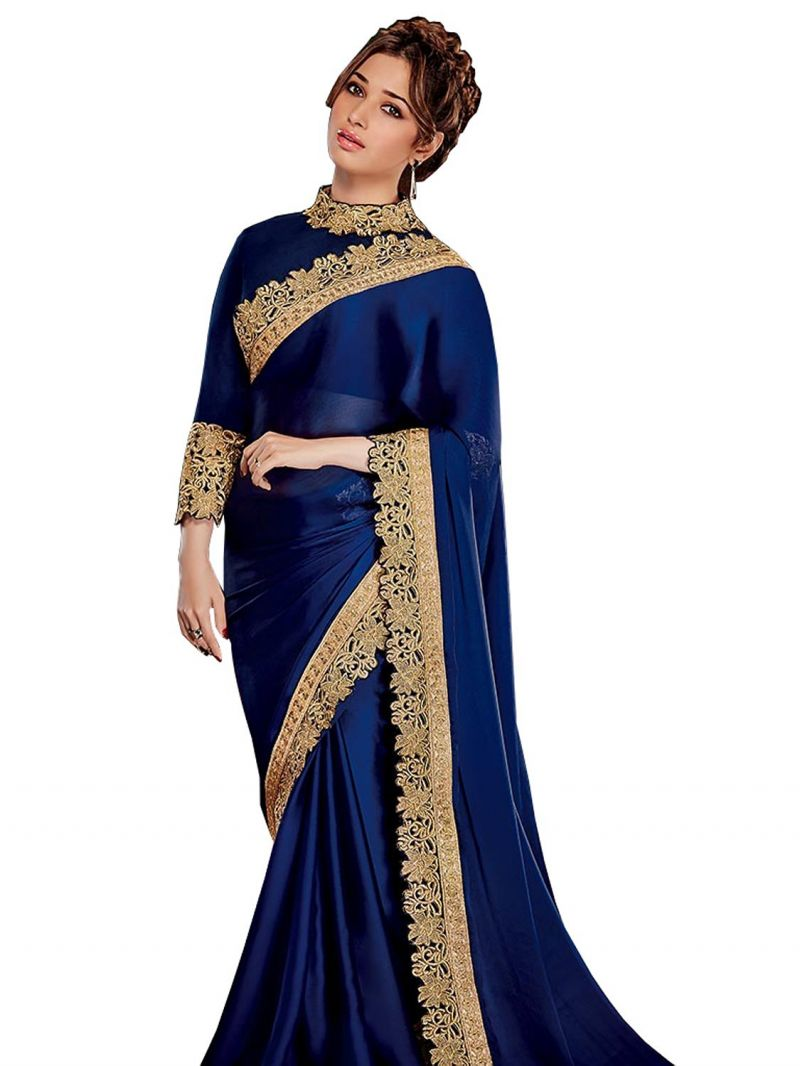 Buy Pavitra Creation Blue Satin Chiffon Embroidery Work Partywear Saree With Blouse Blue Bahubali online
