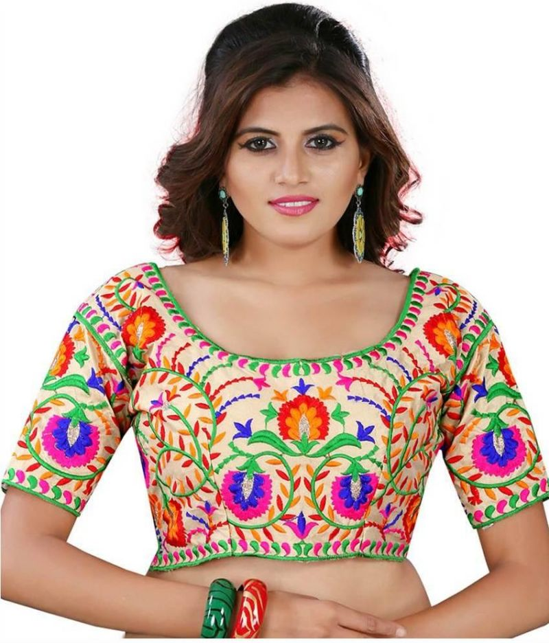 Buy Pavitra Creation Multi Colored Designer Unstitched Dhupian Blouse With Kuch Embroidery Work Chiku Blouse1 online