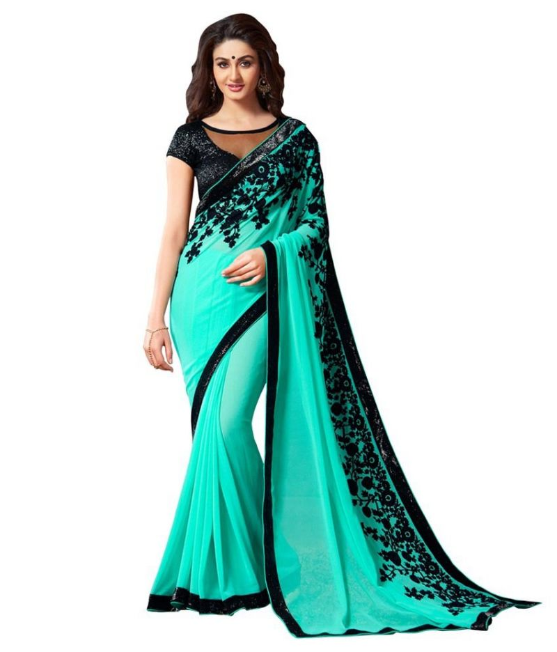 Buy Pavitra Creation Turquoise Georgette Embroidery Work Partywear Saree With Fancy Blouse Fancy Pallu online