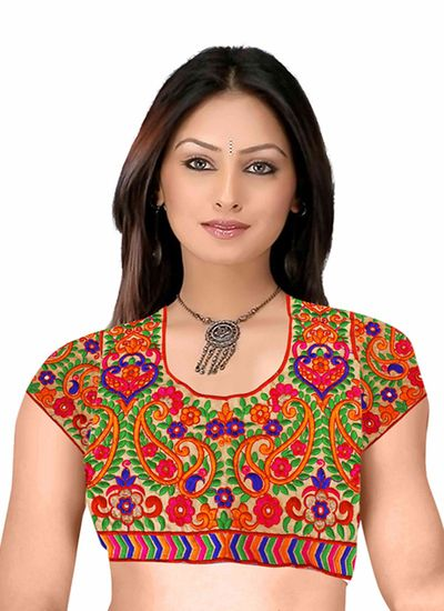 Buy Pavitra Creation Multi Colored Designer Unstitched Dhupian Blouse With Kuch Embroidery And Mirror Work Mengo Blouse1 online