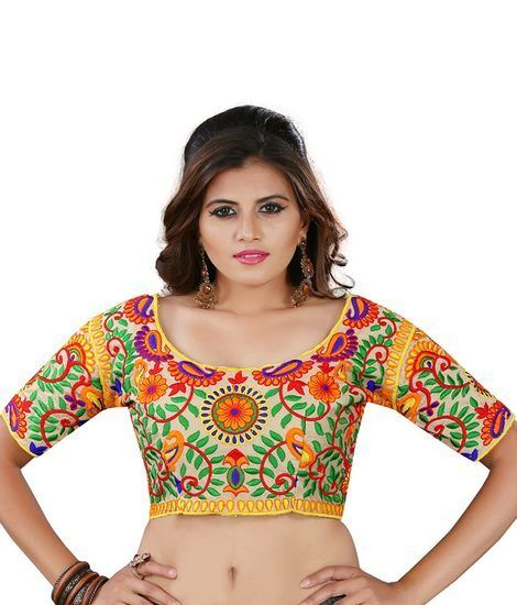 Buy Pavitra Creation Multi Colored Designer Unstitched Dhupian Blouse With Kuch Embroidery Work Sunblouse1 online