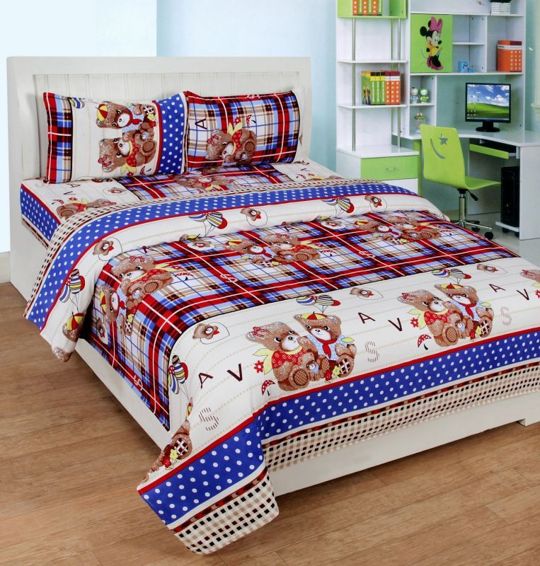 Buy Zesture Polycotton 3d Printed Double Bedsheet With 2 Pillow Cover (premiumpcd006) online