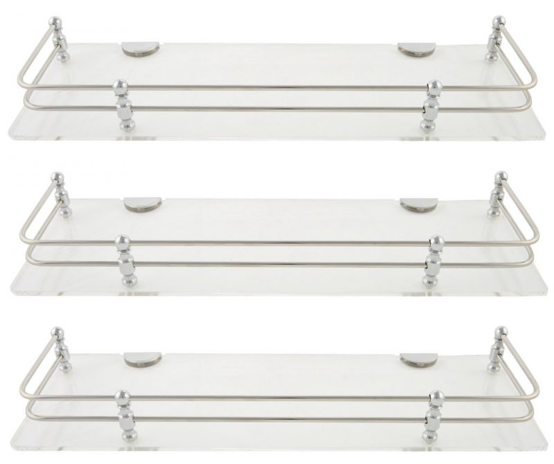 Buy Horseway White (clear) Acrylic And Stainless Steel Railing Wall Shelf - 15x5 Inch- Set Of 3 online