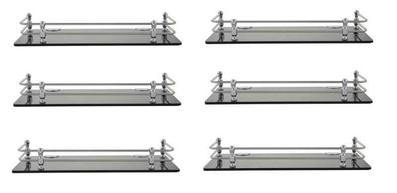 Buy Horseway Black Acrylic And Stainless Steel Railing Wall Shelf - 15x5 Inch - Set Of 6 online