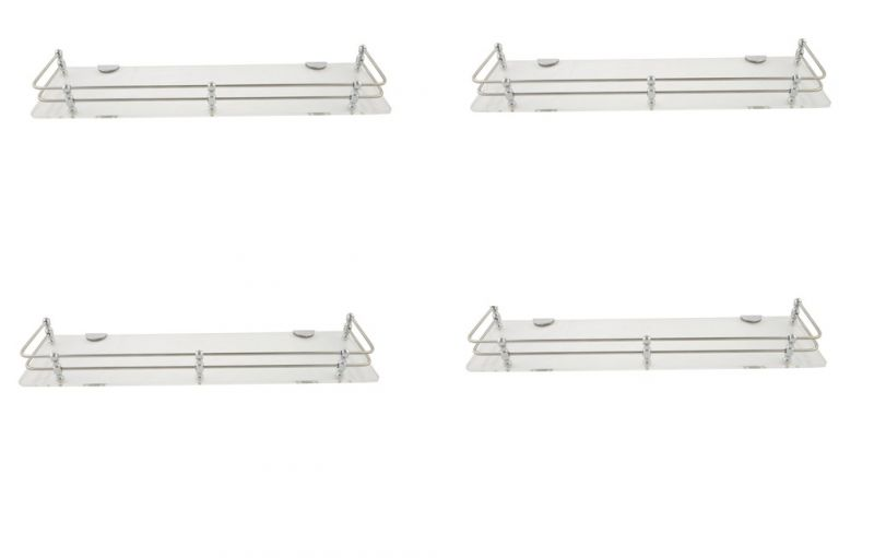 Buy Horseway White (clear) Acrylic And Stainless Steel Railing Wall Shelf - 18x5 Inch - Set Of 4 online