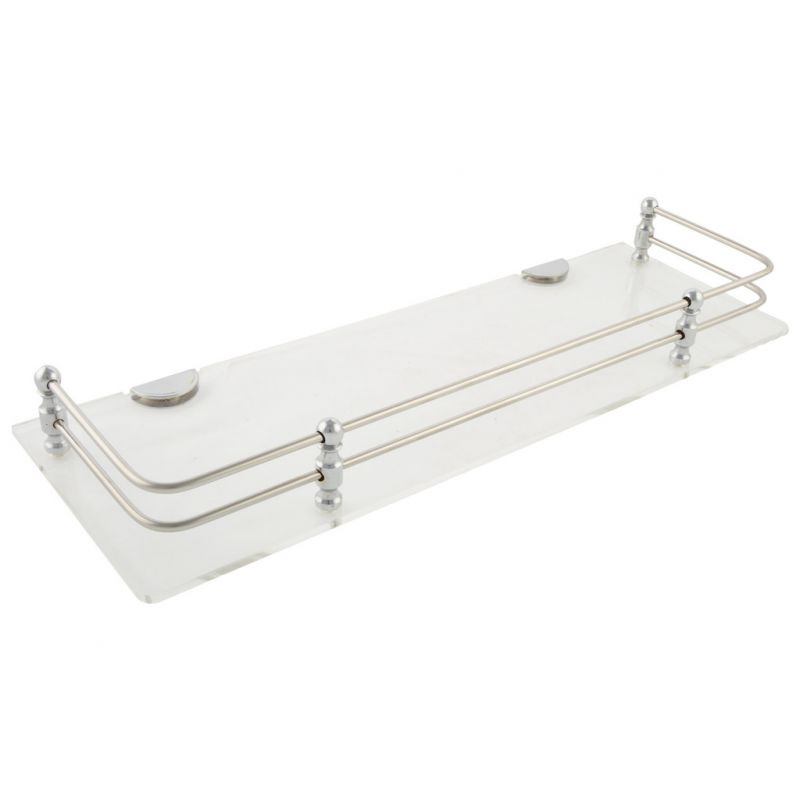 Buy Horseway White (clear) Acrylic And Stainless Steel Railing Wall Shelf - 12x5 Inch online
