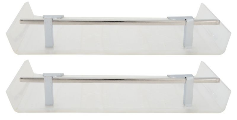 Buy Horseway White Color Marble Designed Acrylic Wall Shelf - 12x5 Inch - Set Of 2 online