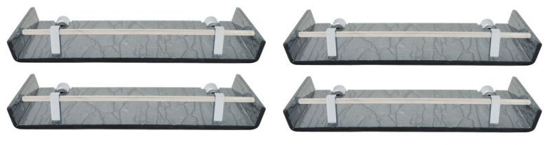 Buy Horseway Black Color Marble Designed Acrylic Wall Shelf - 12x5 Inch - Set Of 4 online