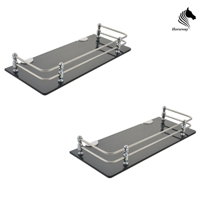 Buy Horseway Black Acrylic And Stainless Steel Railing Wall Shelf - 15x5 Inch - Set Of 2 online