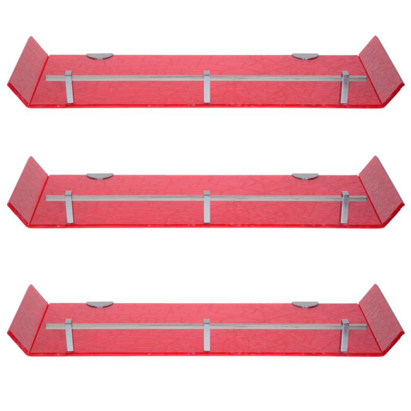 Buy Sagar 18x6 Inch Pink Marble Designed Acrylic Wall Shelf - Combo Of 3 online