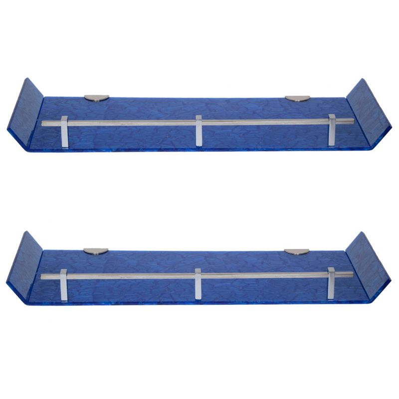 Buy Sagar 18x6 Inch Blue Marble Designed Acrylic Wall Shelf - Combo Of 2 online