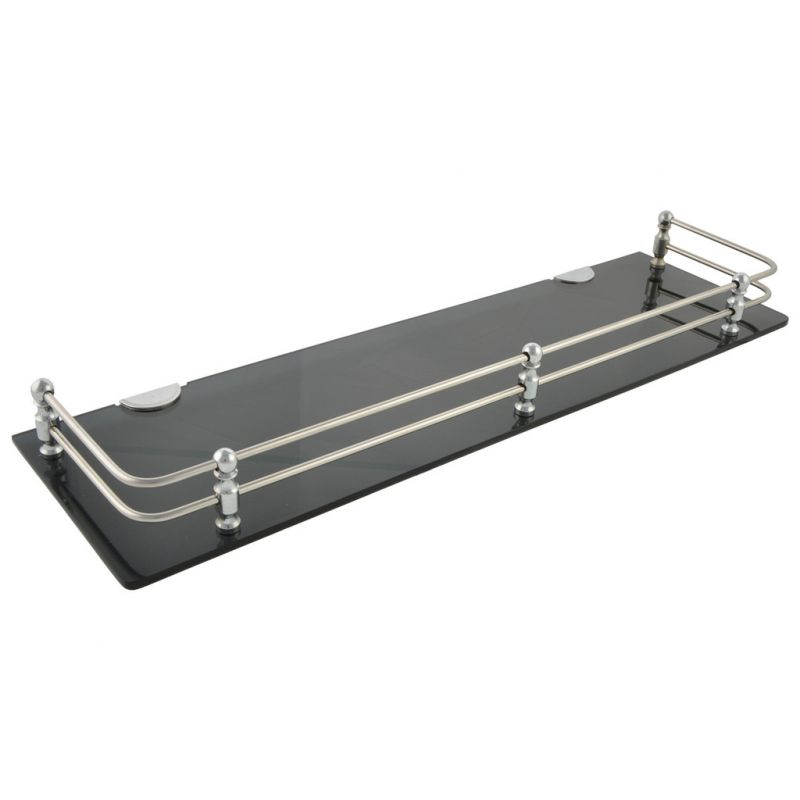 Buy Horseway Black Acrylic And Stainless Steel Railing Wall Shelf - 18x5 Inch - Set Of 5 online