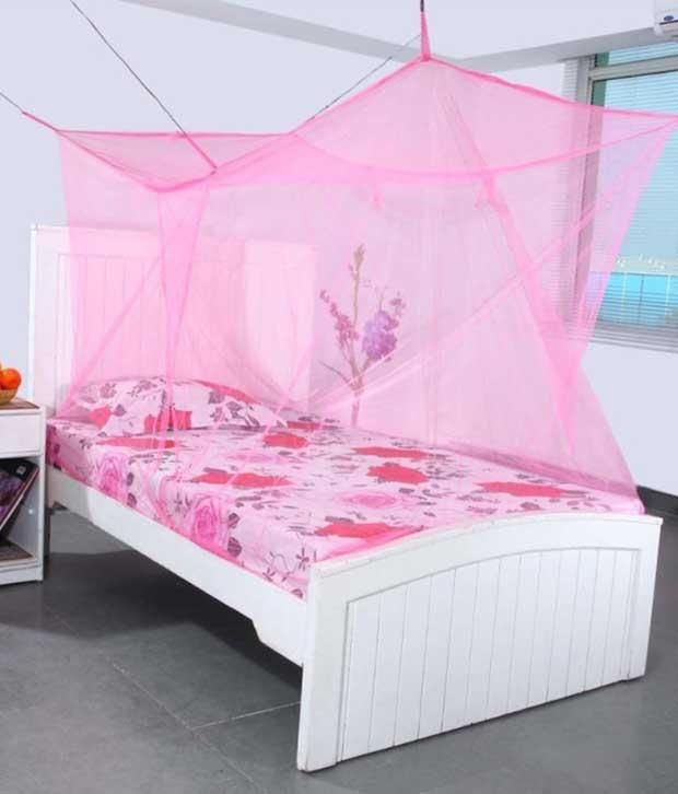 Buy Shahji Creation Pink Polyester Single Bed Mosquito Net online