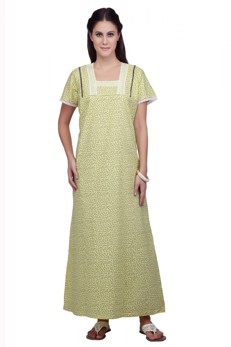 Buy Silkys' Floral Print Short Sleeves Yellow Cotton Nighty For Women_ss30318a online