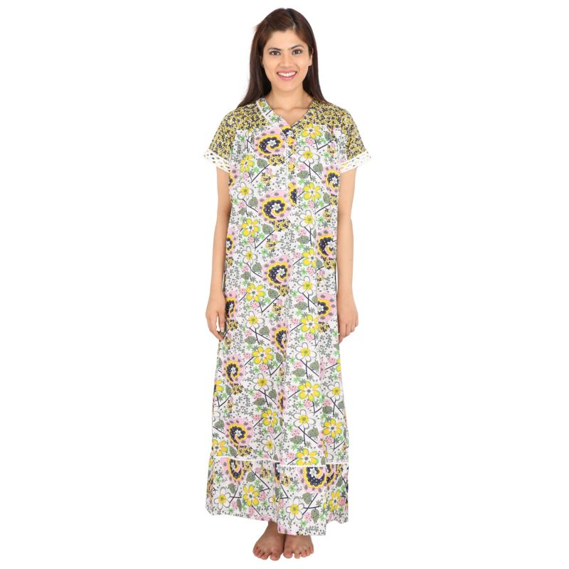 Buy Silkys' Floral Print Short Sleeves Yellow Cotton Nighty For Women_ss30325c online