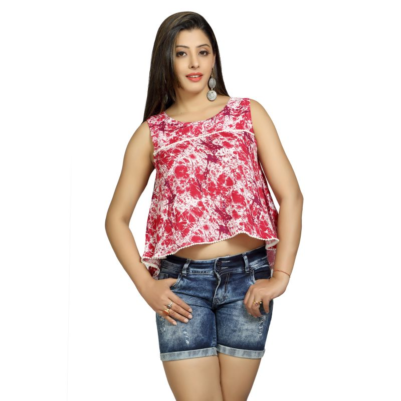 Buy Blu Finch  Women'S Rayon  Pink Plain Crop Top online