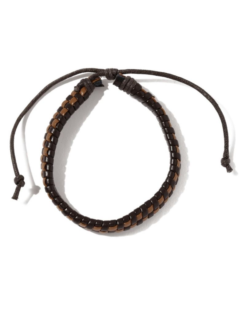 Buy Tipsyfly Western Brown Checks Leather Bracelet For Men-025mob online