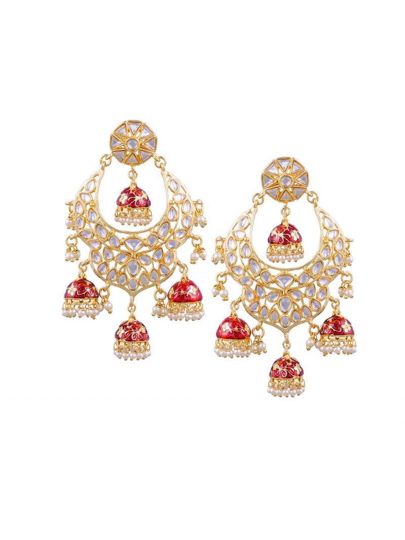 Buy Tipsyfly Post & Back Closure Red Alloy Jhumkas Earrings For Womens online