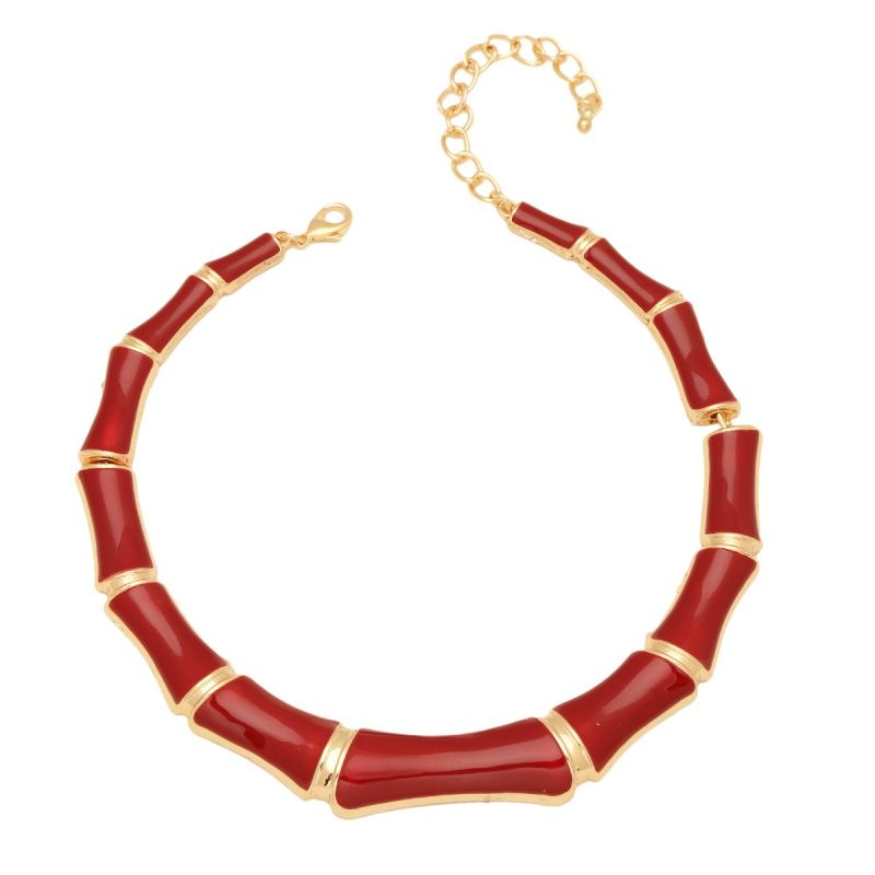 Buy Tipsyfly Red Color Alloy Bamboo Choker For Women_246nred online