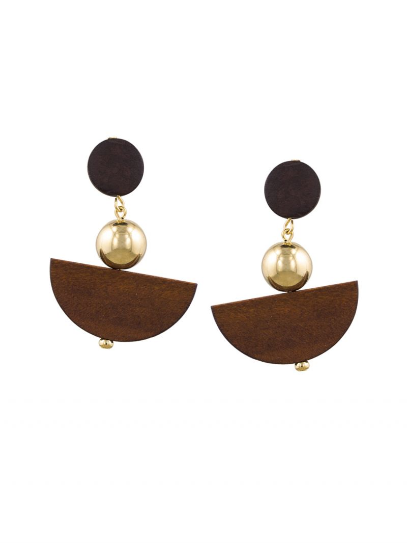 Buy Tipsyfly Post And Back Closure Brown Alloy Drop Earrings For Womens online