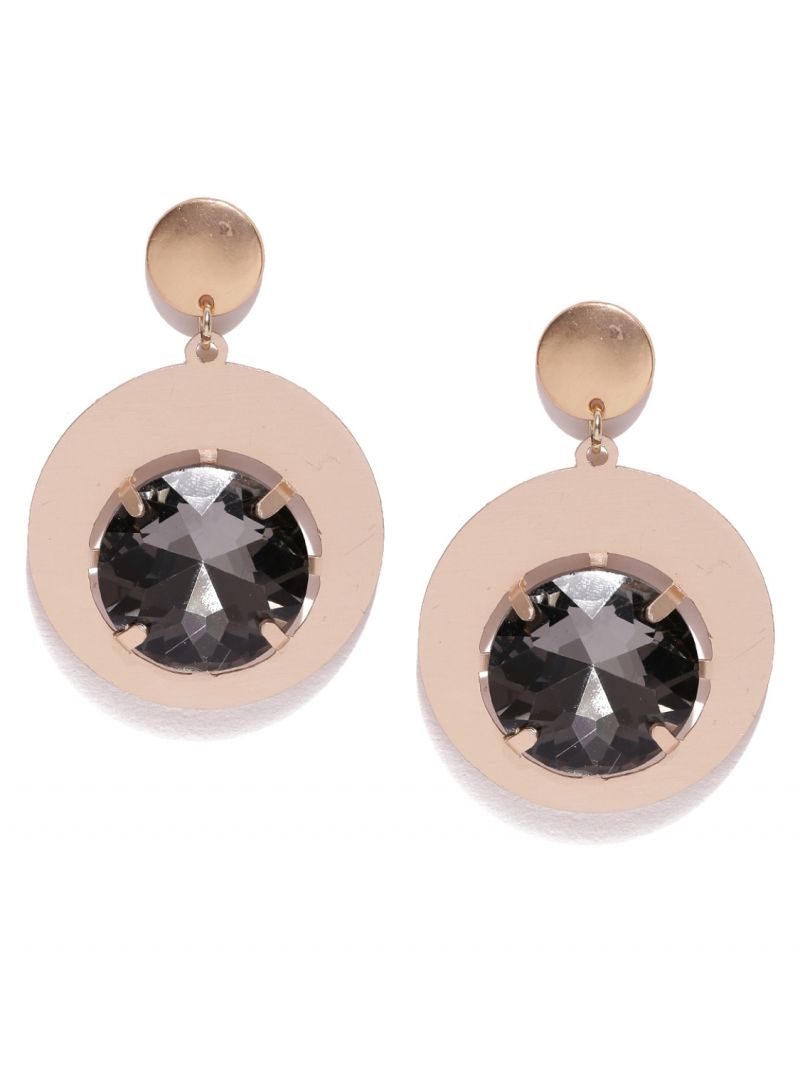 Buy Tipsyfly Post & Back Closure Black Alloy Drop Earrings For Womens online