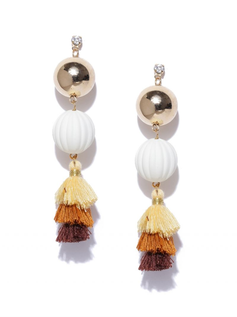 Buy Tipsyfly Post & Back Closure White Alloy Drop Earrings For Womens online