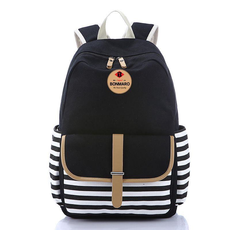 Bonmaro Bell Black Casual Canvas School College Backpack Bag Online