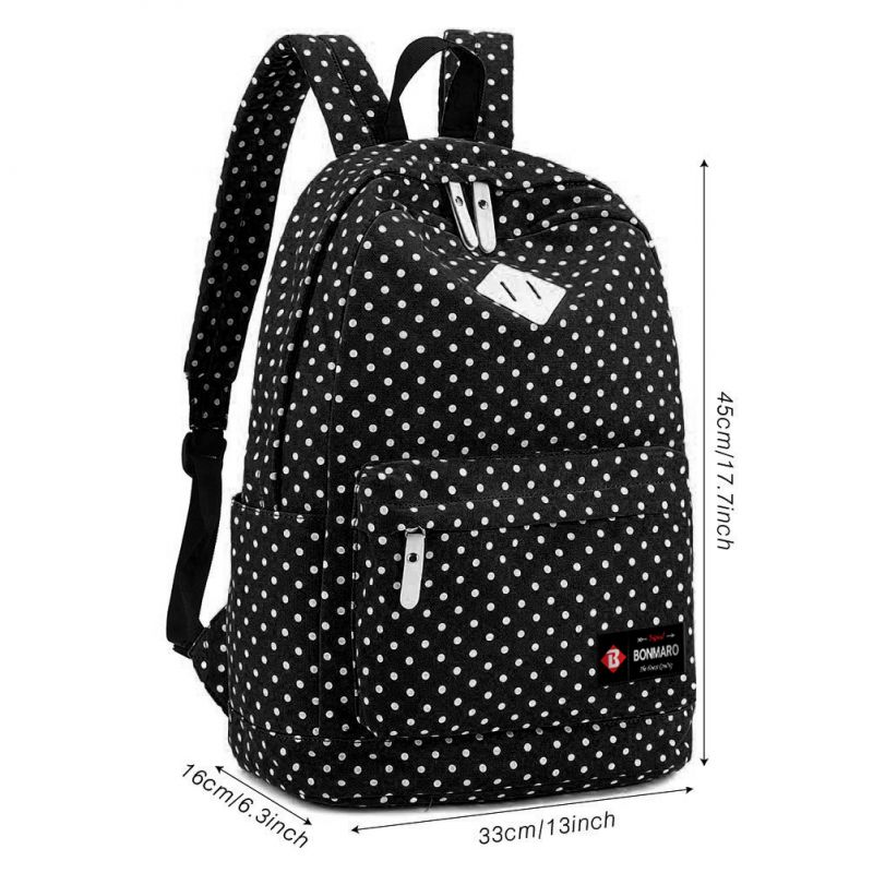 e966751e54 Buy Bonmaro Polka Dots Black Canvas Casual Canvas Backpack Online ...