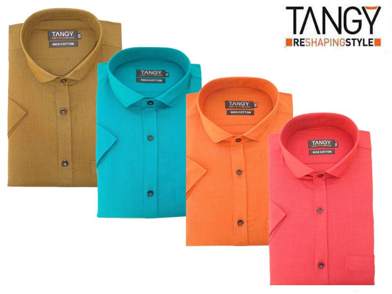 Buy Tangy Pack Of 4 Half Regular Fit Shirts online