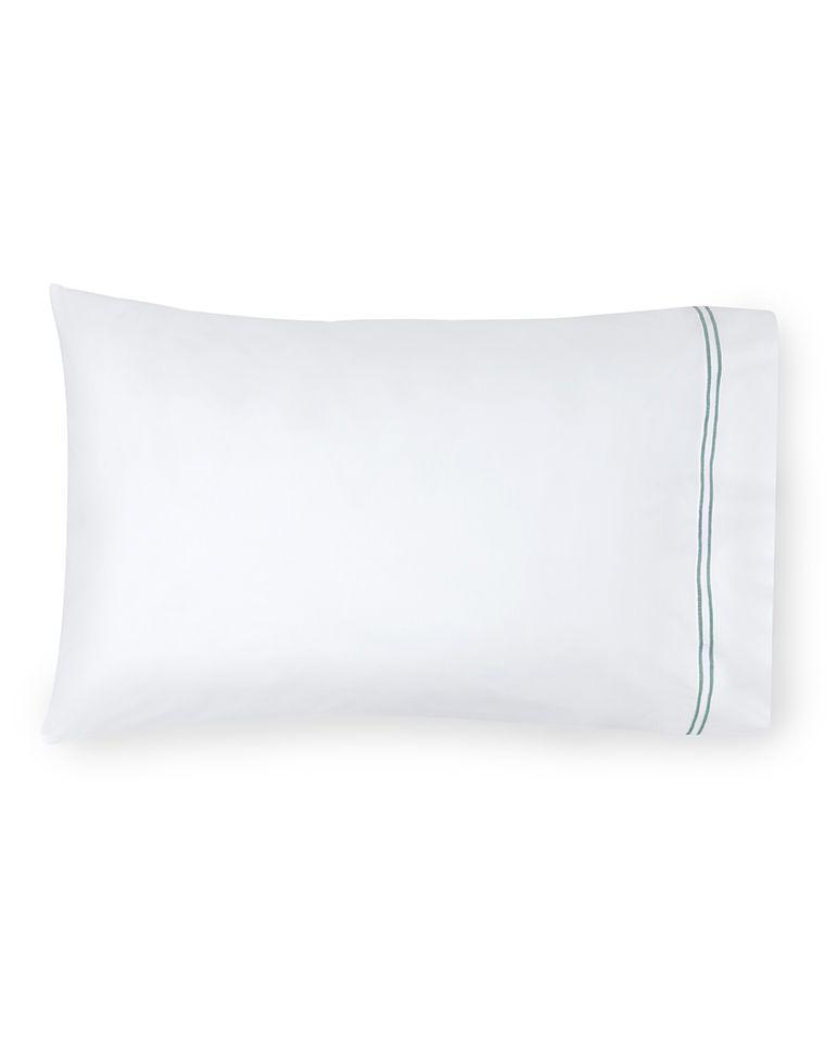 Buy Sferra Pillow Case - King Size 100% Egyptian Cotton White Aqua online