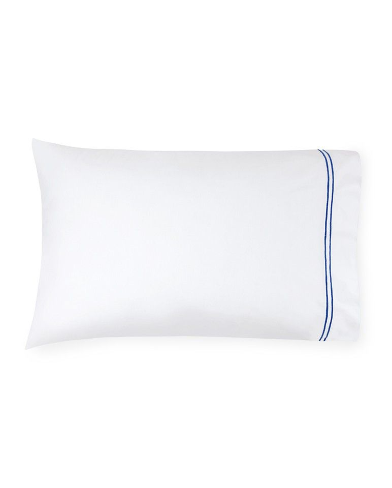 Buy Sferra Pillow Case - Standard Size 100% Egyptian Cotton White Cornflower Blue online