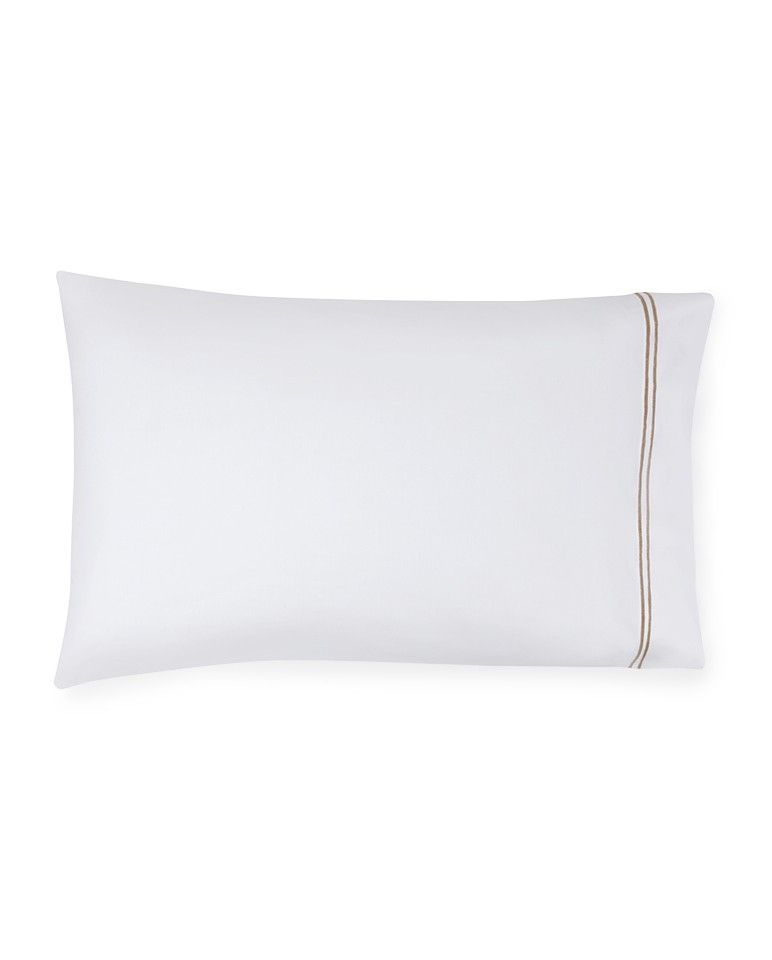 Buy Sferra Pillow Case - Standard Size 100% Egyptian Cotton White Taupe online