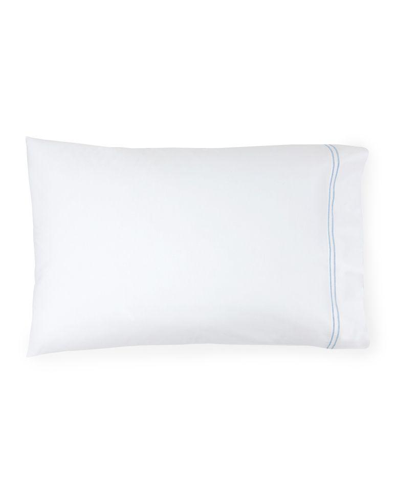 Buy Sferra Pillow Case - King Size 100% Egyptian Cotton White Blue online