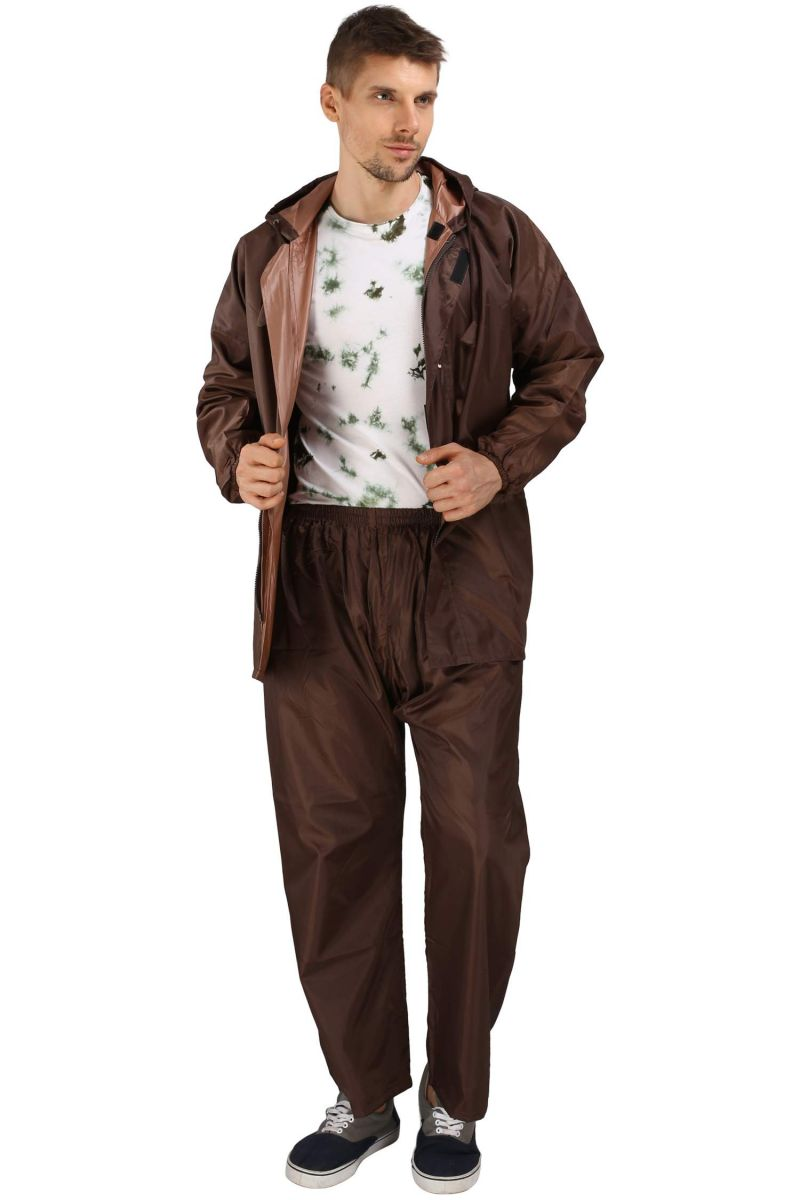 Buy Real Rainwear Brown Reflected Back Strip,Matching Pvc Lining With Inner Pockets For Men'S online